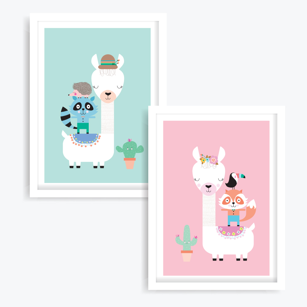 Lucky & Lulu Llama Art Prints (set of 2)