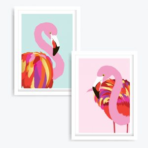 The Flamingos Art Prints (set of 2)