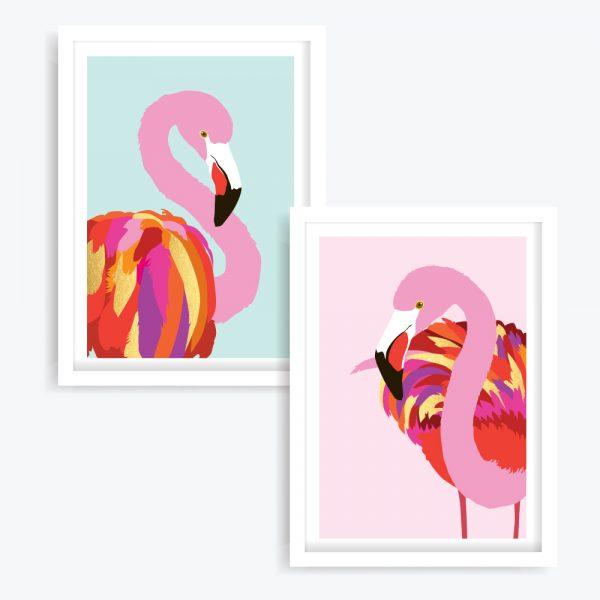 The Flamingos Art Prints (set of 2)