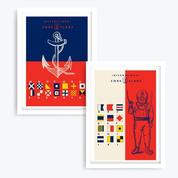 Nautical Flags Art Prints (set of 2)
