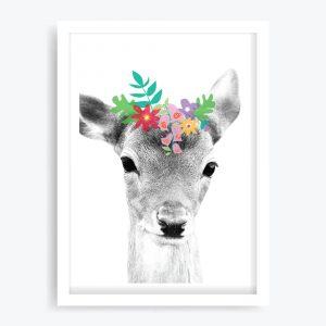 Daisy Deer Art Print