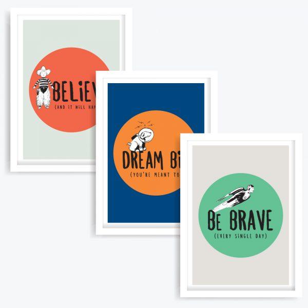 Be Brave Trilogy Art Prints (set of 3)