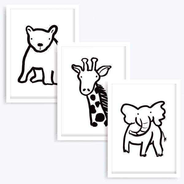 The Elephant, Bear & Giraffe Art Prints (set of 3)